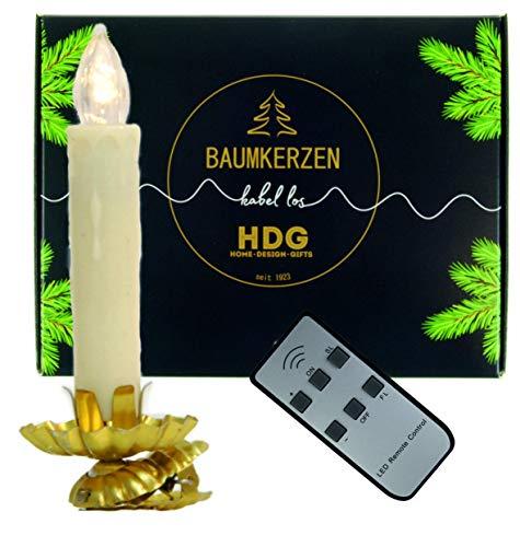 Baumkerzen kabellos - 8er Set LED Christbaumkerzen mit Clip Gold, Kerzenhalter im Set:Kerzenhalter mit Baumkerzen in weiß