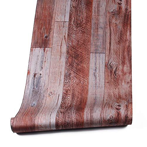Brown Faux Textur Wallpaper (Holz Textur Tapete Rollen, schiefergraucolor/braun Faux Holz Plank Tapete Wandmalereien Home Küche Schlafzimmer Wohnzimmer Dekoration 52,8cm X 31FT 393.7inx20.8in 4 Brown/stone gray)
