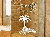 Glasdekor Fensterfolie Duschkabine für Badezimmer Palme Blumen Spruch (73x40cm)