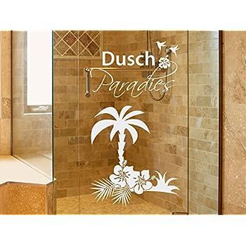 Graz Design Fenstertattoo Schriftzug Dusch Paradies Mit Palme |  Fensterfolie Fürs Badezimmer   Glastattoo Für