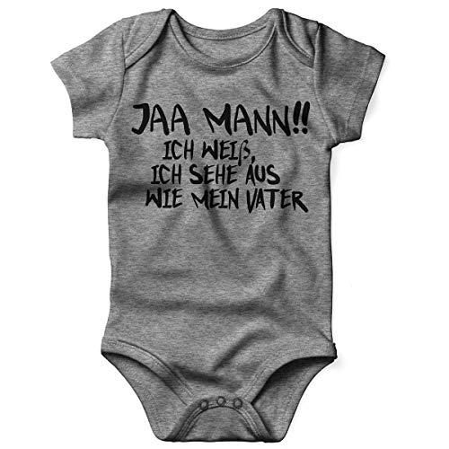 Mikalino Babybody mit Spruch für Jungen Mädchen Unisex Kurzarm Jaa Mann! Ich weiß, ich Sehe aus wie Mein Vater | handbedruckt in Deutschland | Handmade with Love, Grösse:74, Farbe:Heather (Baby Mein Daddy Kleidung)