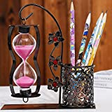 Bolígrafo único con temporizador de reloj de arena, rosa
