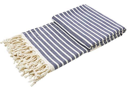 tripes leichte Sommerdecke mit Fransen Plaid Überwurf Picknick Strand Biergarten 100x180cm Streifen Marine-blau Creme ()