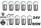24 Volt - 10 Stück - R 5W - BA15d - 5Watt - Nfz LKW Beleuchtung - Glühlampe, Glaslampe, Glühbirne, Soffitte, Lampen. Mit E-Prüfzeichen und ist für den Straßenverkehr zugelassen. INION®