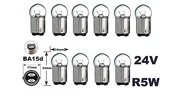 SPAHN-10 St/ück Gl/ühlampe 24V 5W Ba15d 16x45mm Gl/ühbirne Lampe Birne 24Volt 5Watt neu 10er Pack