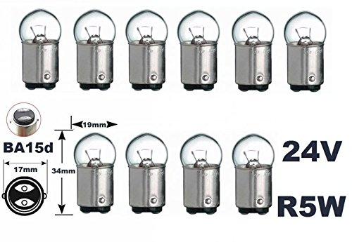 24 Volt - 10 Stück - R 5W - BA15d - 5Watt - Nfz LKW Beleuchtung - Glühlampe, Glaslampe, Glühbirne, Soffitte, Lampen. mit E-Prüfzeichen [STVZO zugelassen] - Hallenwerk