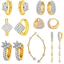 Jewels Galaxy Precious Collection Of Fancy American Diamond Earrings And 1 Earcuff - Combo Of 7