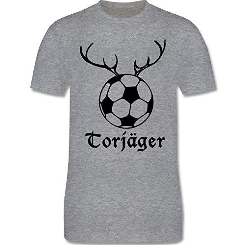 Fußball - Torjäger - Herren Premium T-Shirt Grau Meliert