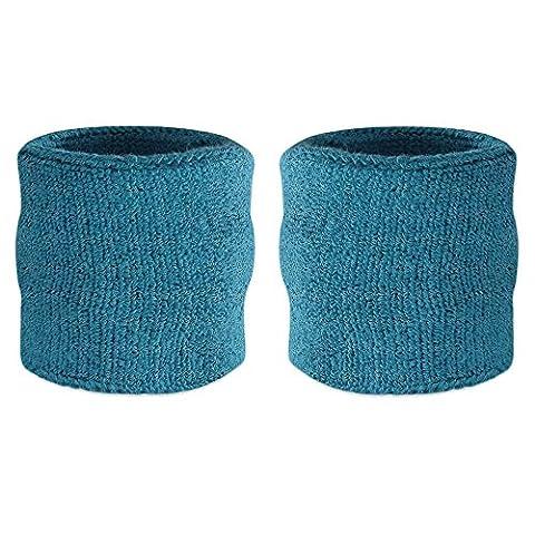 suddora Handgelenk-Schweißband, Baumwoll-Frottee, Armband für Sport, 1 Paar Blau Blaugrün