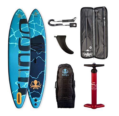Runga Marino AIR Inflatable Touring SUP iSUP 11.4 INKL. Bravo PUMPE, Carbon PADDEL, Trolley-Bag, Coiled Leash & PADDELTASCHE -