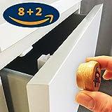 NEUHEIT! Magnet aus Holz! Schrank- und Schubladensicherung 8+2 | Baby- und Kindersicherung zum kleben ohne Bohren | magnetisch unsichtbar