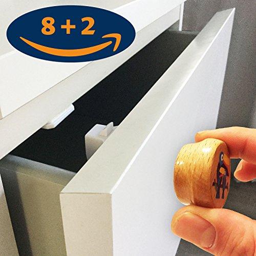 NEUHEIT! Magnet aus Holz! Schrank- und Schubladensicherung 8+2 | Baby- und Kindersicherung zum kleben ohne Bohren | magnetisch unsichtbar (Kleben Messer)