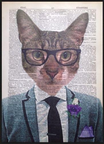 Tabby Cat Geek Vintage diccionario página pared Art imagen impresión gafas Hipster