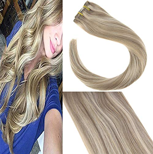 Sunny Echthaar Clip in Extensions Dunkle Ashblond Highlighted Blond 120gramm/7pcs Dip Dyed Remy Echt Haare Extensions Clip in 22 zoll/55cm