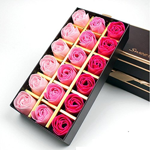 Itian Preserved Rose Scented Bath Soap Rose in Gift Box, 18PCS (Rose)
