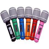 6 x aufblasbares Mikrofon 24cm Mikrofone Party Karneval Mikro ver. Farben