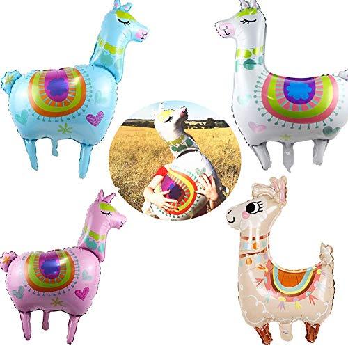 Miss Good Alpaca Llama Foil Globos Verano Mexicano Aloha Hawaiian Decoración de Fiesta Tropical para Baby Shower Cumpleaños Suministros para Fiestas de Bodas Regalo para niños Paquete de 4