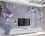 HONGYUANZHANG Benutzerdefinierte 3D Fototapete Hd Gemalt Magnolia Vogel Wandbild Tapete Für Wohnzimmer Schlafzimmer 3D Tapete,170cm (H) X 250cm (W)