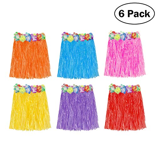 ThinkMax 6 Pcs Hawaii Grass Rock für Kinder und Frauen, Strand Thema Party gefallen