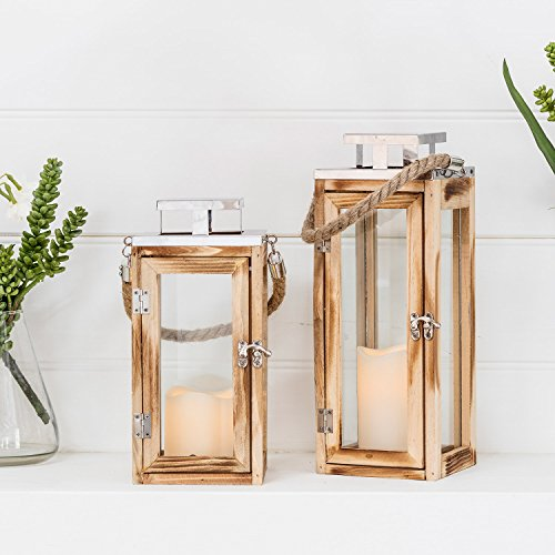 Lights4fun Set of 2 Wooden Battery Operated LED Candle Lanterns with Rope Handles