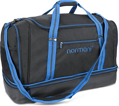 normani Sporttasche 90 | 58 | 28 Liter Reisetasche mit separatem Schmutzwäsche- und Schuhfach Sportlich Schlichtes Design Weekender Farbe 90 Liter Blau