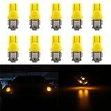 Grandview 10 X 501 LED Birne T10 5-SMD 5050 Super Helle 194 168 2825 Keil LED Auto Lichter Quelle Ersatzlampen Armaturenbrett Innenleuchten Seitenleuchten Fußraum Handschuhfach/boot/Ladung (gelb)