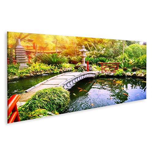 Garten-teich-canvas Art (islandburner, Bild Bilder auf Leinwand Japanischer Garten mit schwimmenden Koi-Fischen im Teich. Natur Hinterund Wandbild, Poster, Leinwandbild Pig-Pano-DE6)