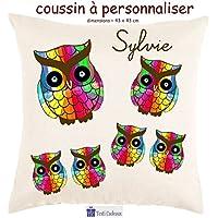 Texti-cadeaux, Coussin toucher très doux, motif Chouette multicolor à personnaliser avec Prénom…