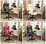 Executive Faux Leather Massage Heating Office Computer Chair Swivel Reclining (Brown)