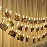 KNONEW LED Photo Clip String Lights - 20 Photo Clips 2.4M Battery Powered LED Picture Lights for Decoration Hanging Photo , Notes, Artwork (Warm-white)
