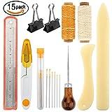 15pezzi Legatoria Tools set Bone Folder Paper Creaser filo di lino cerato fatto a mano Legno maniglia punteruolo large-eye aghi per libri Legatoria e forniture per cucire