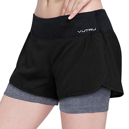 Dri-fit-training Jersey (VUTRU Damen Running Workout Shorts mit Liner 2 in 1 Athletic Sport Shorts, Damen, schwarz, M. Waist≈29.52