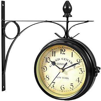 Vidaxl horloge de gare pendule murale double face style - Horloge murale style gare ...