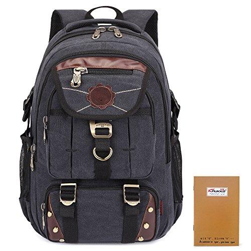 KAUKKO-Herren-Outdoor-Sports-Freizeit-Canvas-Rucksack-14-Zoll-Laptoprucksack-Reisetasche-Daypacks-Schultasche-Backpacks-schwarz