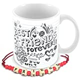Tuelip Best Friends Forever Design On Simple Paper Mug With Free Friendship Band For Tea And Coffee 350 Ml Ceramic Printed Mug