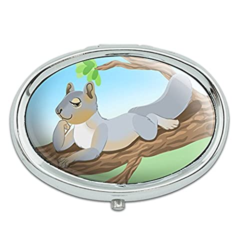 Sassy Squirrel Metal Oval Pill Case Box