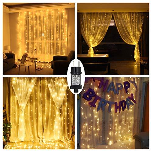 fenster beleuchtung LED Lichtervorhang Warmweiß für Innen Außen Fenster Weihanchten Geburtstag Party Hochzeit IP44 31V Niederspannung 8 Lichtmodi 300er LEDs Lichterkette 3M x 3M Weihnachtsbeleuchtung