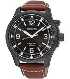 Seiko Herren-Armbanduhr Kinetic Analog Quarz Leder SKA691P1