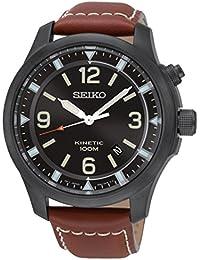 Seiko Kinetic para hombre-reloj analógico de cuarzo cuero SKA691P1