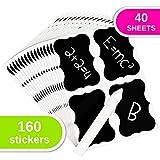 Set di 160 Etichette (40 Fogli) Ri-scrivibili + Gesso Bianco | Adesivi Riutilizzabili per Lavagne Impermeabili | Perfetto per Cucina, Barattoli, Bottiglie, fai-da-te, Organizzazione e Decorazione