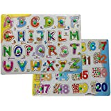 Ascend Store™ Combo Of Wooden ABC Alphabet Learning Puzzle Board, Wooden 1 To 20 Number And Counting Learning Puzzle Board (Combo Of A To Z And 1 To 20)