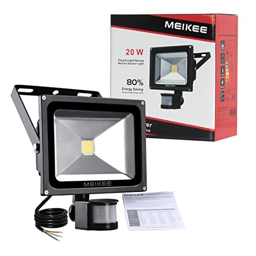 MEIKEE 20W Motion Sensor Light, Super bright Outdoor LED Flood Lights, 1500 Lumen, 100W Halogen Lights Equivalent, Daylight White, Waterproof Security Light, PIR Floodlight[Energy Class A+]
