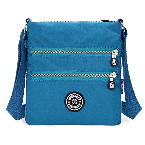 Tiny Chou multistrato con cerniera impermeabile in nylon tessuto da spalla con tracolla per ragazza Blu (Blu Oceano)