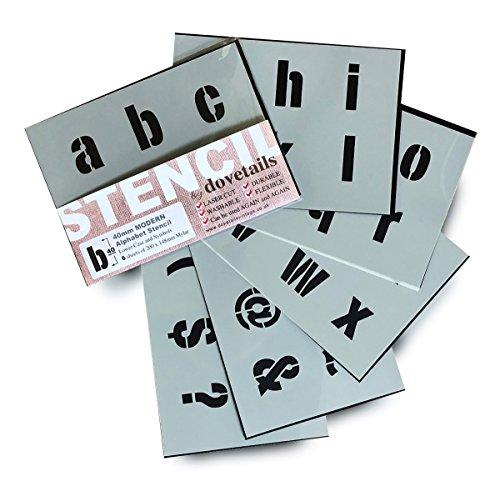 Große Alphabet Schablonen Buchstaben / Symbole 4 cm hoch MODERN kleinbuchstaben 6 x Blätter 20 x 14.8 cm (Symbol-schablone)