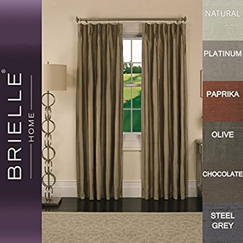 Brielle 100% Dupioni Silk Rod Loop Back Tab Panel, Lined, Insulated, Room Darkening, Pinch Pleat Finish, 33x84 inches, Natural