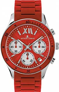 Jacques Lemans Unisex Rome Sports Wrist Watch 1-1586D with Red Silicone Strap