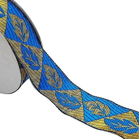 3,5 cm breit Jacquard-Band blauer Ordnung Sari Grenze indian woven von der Werft zu trimmen