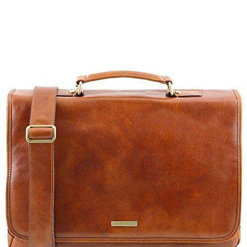 Tuscany Leather Mantova - Cartable TL SMART multi compartiments en cuir avec rabat - TL141450 (Marron foncé) Miel
