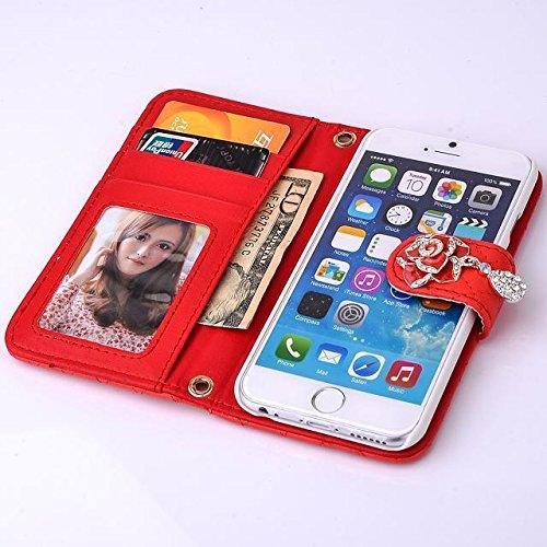 """inShang Hülle für Apple iPhone 6 Plus iPhone 6S Plus 5.5 inch iPhone 6+ iPhone 6S+ iPhone6 5.5"""", Cover Mit Modisch Klickschnalle + Errichten-in der Tasche + GRID PATTERN HANDBAG , Edles PU Leder Tasch pearl handbag red"""
