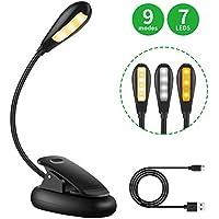 Lámpara LED Lectura Pinza, Minger Flexo LED Recargable Escritorio con 7 Luces LED y 3 Modos con Cable USB, Luz de Lectura para Estudio, Kindle, Lectores Noche, Cama, Viaje, Oficina etc.